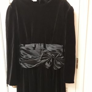 Black Velvet Bow Vintage Dress Boho Goth